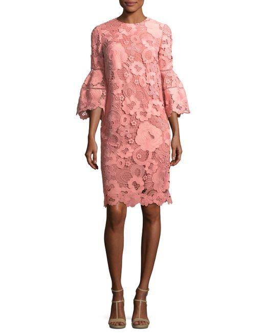 Lela Rose - Pink Lace Flounce-sleeve Tunic Dress - Lyst
