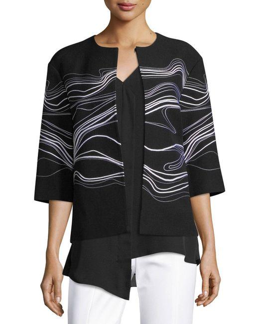 St. John - Black Bella Double Weave Jacket - Lyst