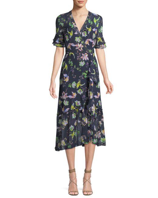 Tanya Taylor - Blue Blaire Floral-print Silk Wrap Dress - Lyst