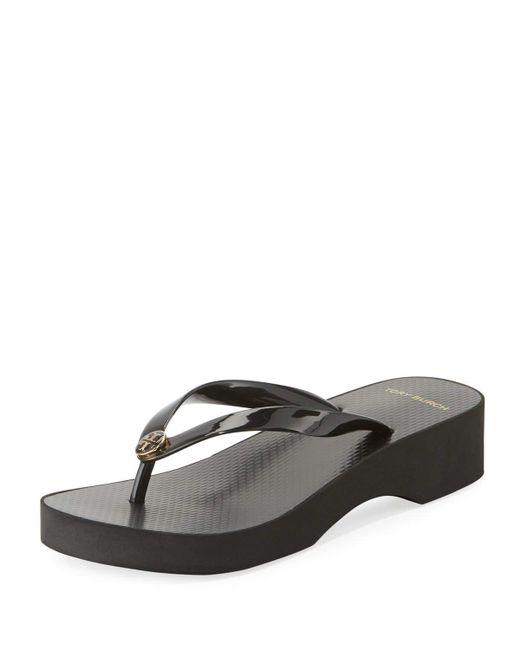 Tory Burch - Black Wedge-heel Flip-flop Sandal - Lyst