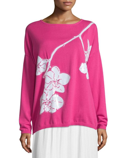Joan Vass - Pink Sequined Orchid Intarsia Sweater - Lyst