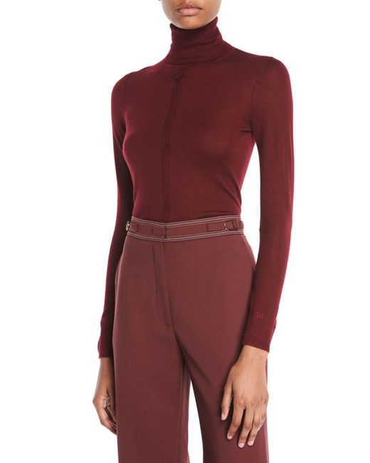 Gabriela Hearst - Purple Turtleneck Long-sleeve Cashmere-silk Top - Lyst