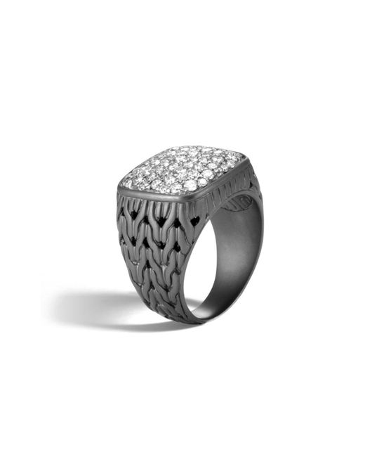 John Hardy | Black Men's Classic Chain Rhodium-plated Signet Ring With Diamonds for Men | Lyst