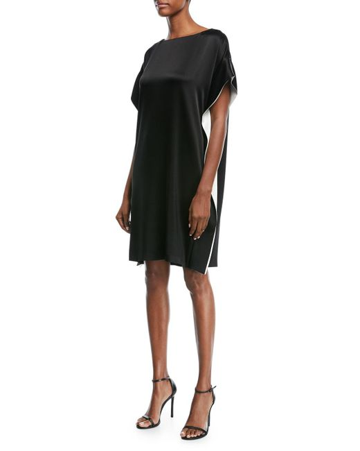 ESCADA - Black Satin Capelet Cocktail Dress With Contrast Inset - Lyst
