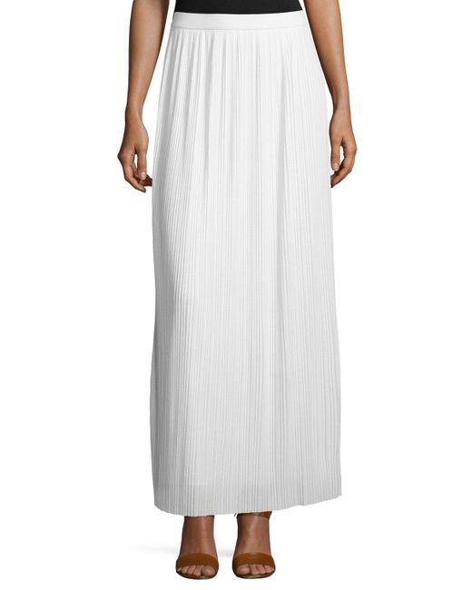 Joan Vass - White Long Pleated Skirt - Lyst