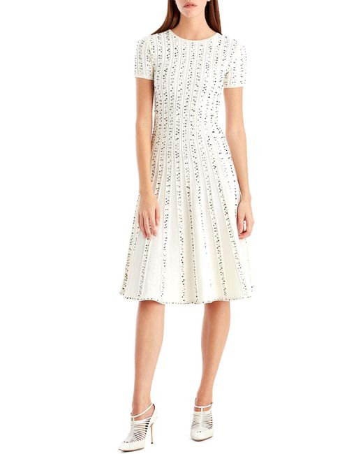 Jason Wu - White Crewneck Short-sleeve Printed A-line Midi Dress - Lyst