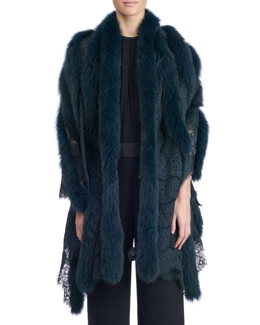 Gorski - Red Fox Fur And Lace Shawl - Lyst
