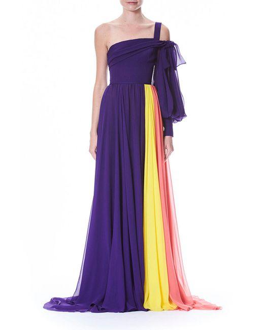 Lyst - Carolina Herrera One-sleeve Colorblocked Draped Chiffon ...