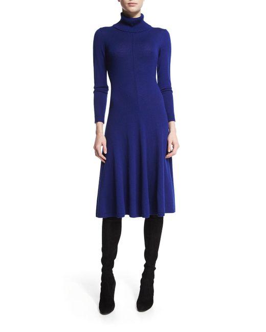 Lafayette 148 New York | Blue Long-sleeve Merino Turtleneck Dress | Lyst