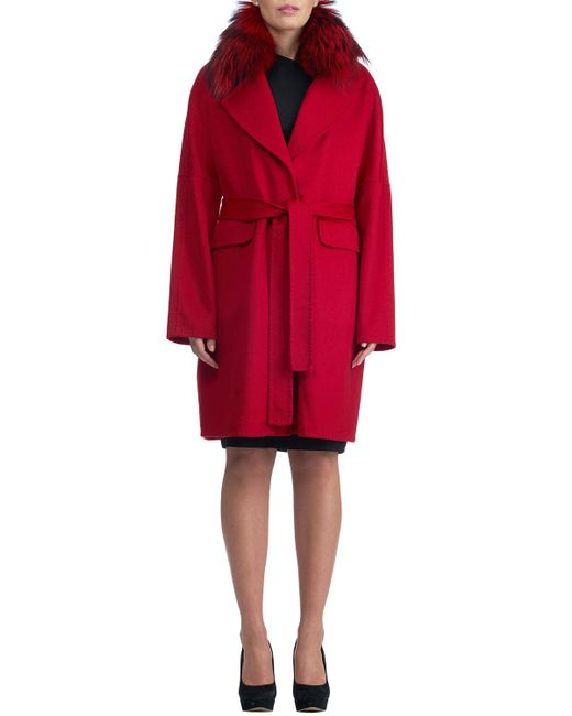 Gorski - Red Double-face Cashmere Short Coat W/ Fox Fur Collar - Lyst