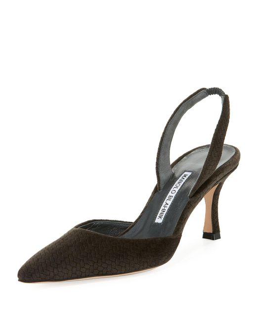 Manolo Blahnik - Gray Carolyne Etched Fabric Mid-heel Halter Pump - Lyst