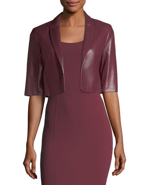 Michael Kors - Purple Cropped Plonge Leather Jacket - Lyst