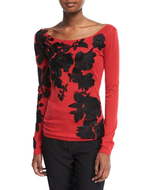 Naeem Khan - Red Boat-neck Lightweight Cashmere Sweater W/ Lace Overlay - Lyst