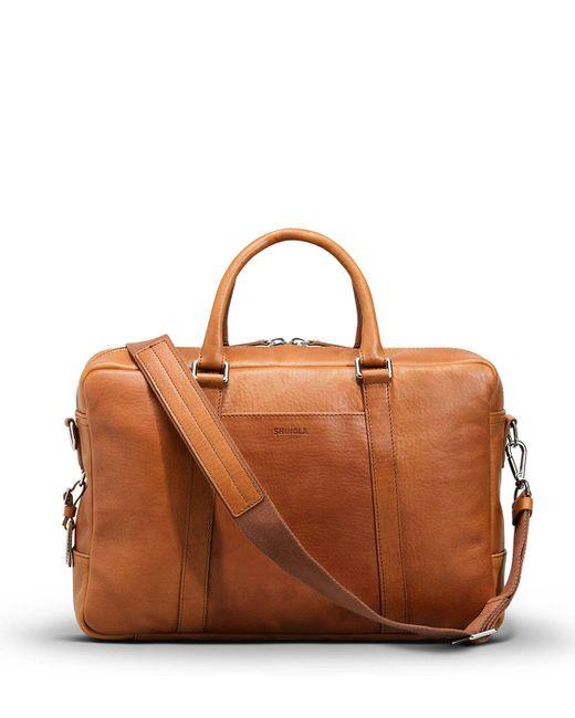 Shinola - Brown Men's Slim Leather Briefcase for Men - Lyst