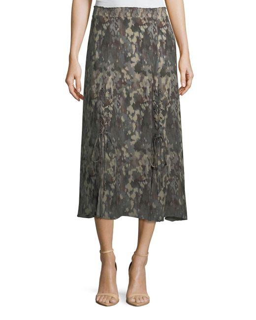 Haute Hippie - Green Solo Printed Silk Midi Skirt - Lyst