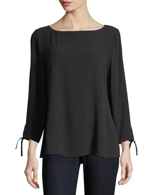 Eileen Fisher   Black Silk Georgette Tie-sleeve Top   Lyst