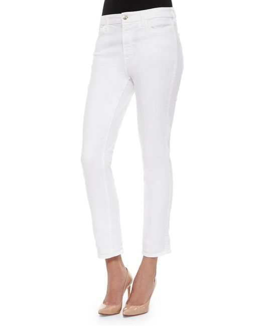 7 For All Mankind - White Slim Ankle Jeans - Lyst