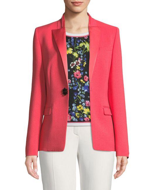 ESCADA - Pink Satin Peak-lapel Jewel-button Wool Tuxedo Jacket - Lyst