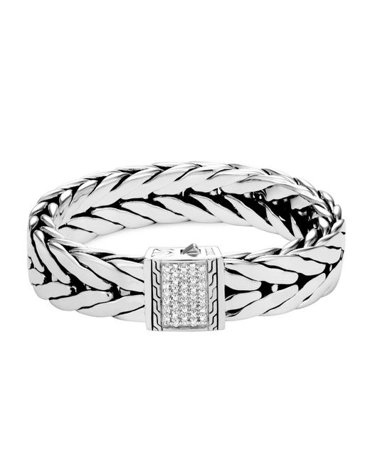 John Hardy - Metallic Men's Modern Chain Extra-large Sterling Silver Bracelet With Diamonds for Men - Lyst