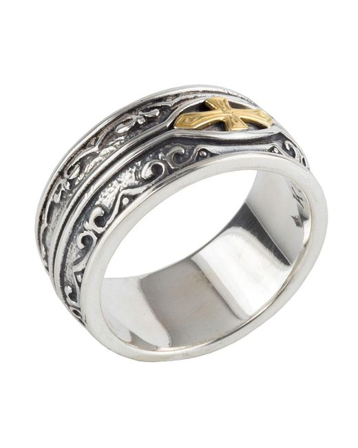 Konstantino | Metallic Men's Sterling Silver & 18k Gold Cross Ring for Men | Lyst