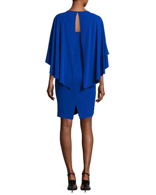 St. John | Blue Sequined Cape Sheath Dress | Lyst