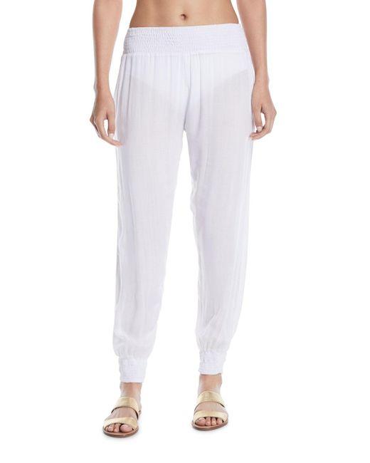 Mikoh Swimwear - White Kahuku Smocked Coverup Harem Pants - Lyst