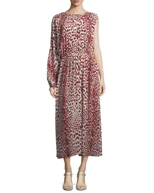 Robert Rodriguez - Red Leopard-print One-sleeve Silk Dress - Lyst