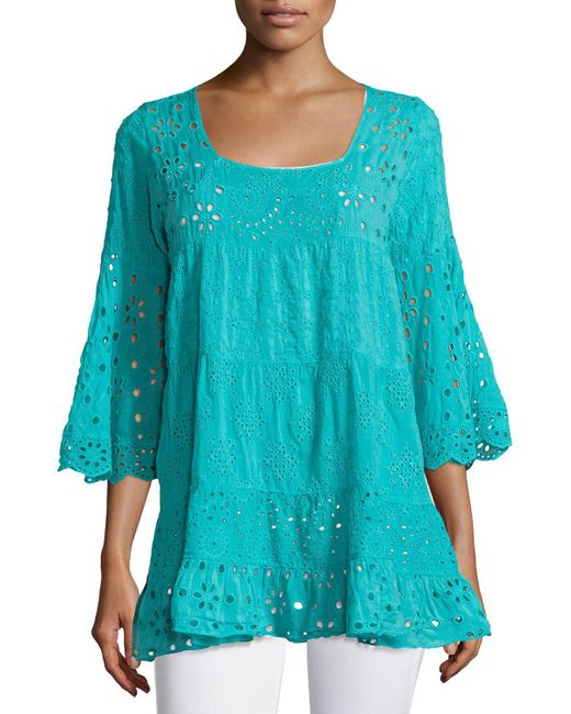 Johnny Was - Blue Bell-sleeve Eyelet Tiered Tunic - Lyst