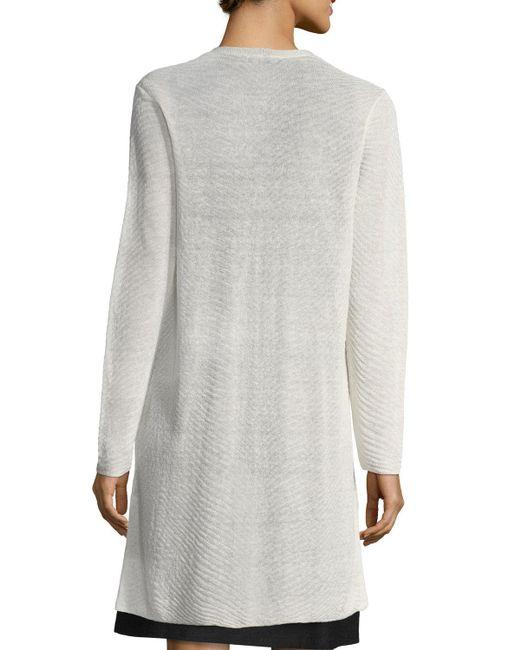 Eileen Fisher | White Sheer Long Cardigan W/ Side Slits | Lyst