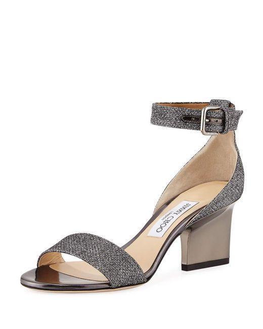 Jimmy Choo - Gray Edina Metallic Fabric Sandals - Lyst