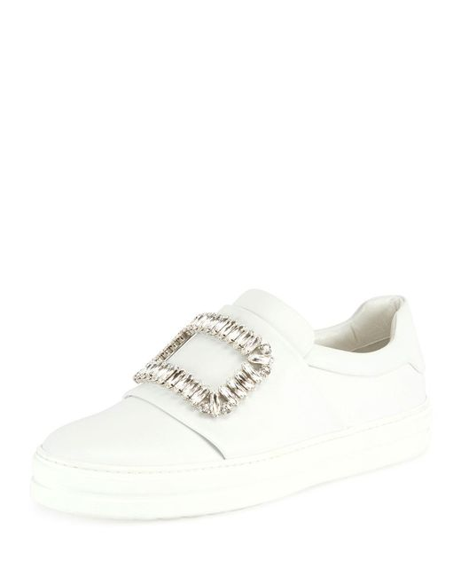 Roger Vivier - White Leather Strass Buckle Sneakers - Lyst