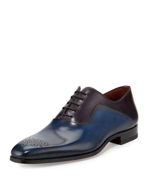 Neiman Marcus   Blue Two-tone Medallion-toe Oxford Shoe for Men   Lyst