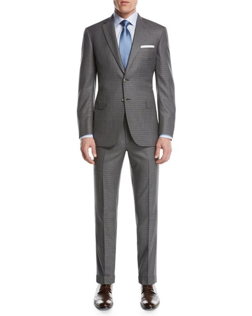 Brioni - Gray Super 160s Wool Box-check Two-piece Suit for Men - Lyst