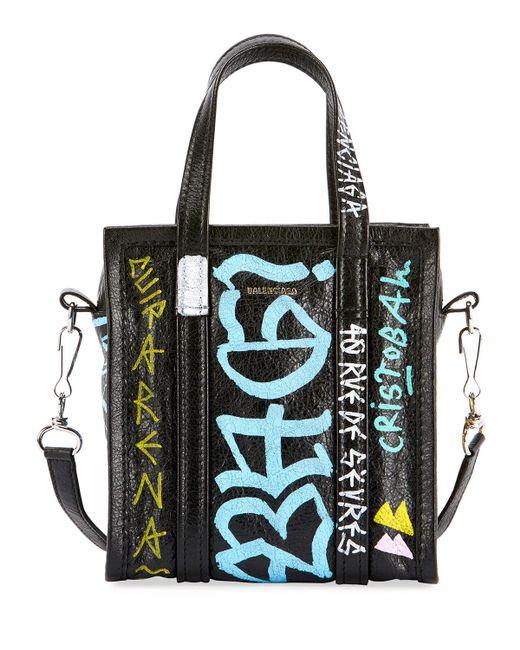Balenciaga - Black Bazar Xxs Graffiti Lambskin Tote Bag - Lyst