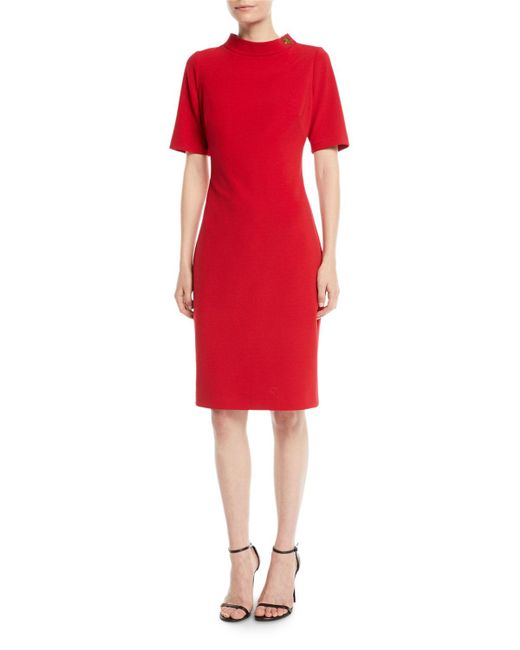 Badgley Mischka - Red Turn-lock Faille Short-sleeve Sheath Dress - Lyst