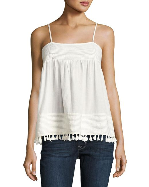 The Great | White The Park Pleated-trim Tank | Lyst