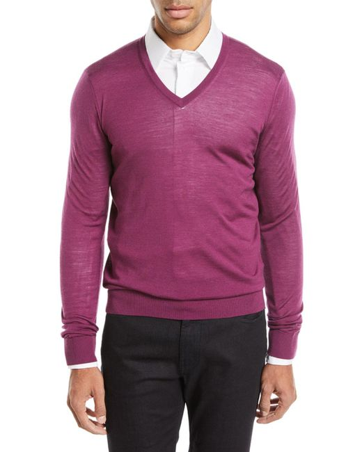 Giorgio Armani - Red Lightweight V-neck Wool Pullover Sweater for Men - Lyst