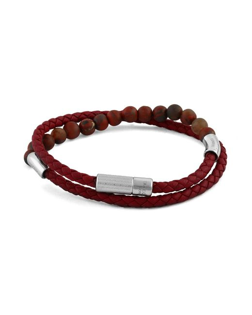 Tateossian - Red Men's Beaded Leather Wrap Bracelet for Men - Lyst