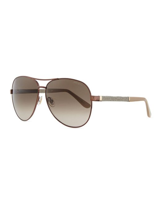 Jimmy Choo - Metallic Lexi Aviator Sunglasses With Crystal Temples - Lyst