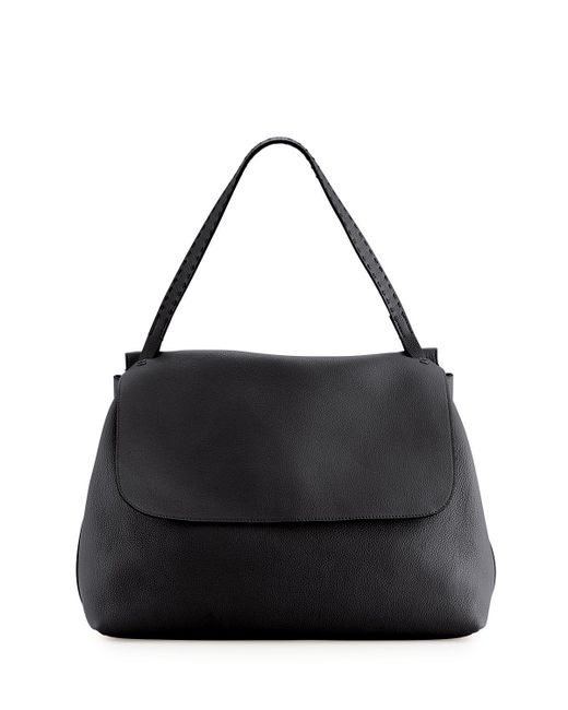 Lyst - The Row Leather Flap-top Shoulder Bag in Black 5408a6966d5eb