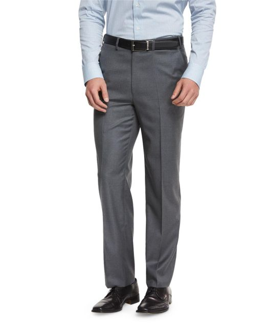 Brioni - Gray Phi Flat-front Wool Trousers for Men - Lyst