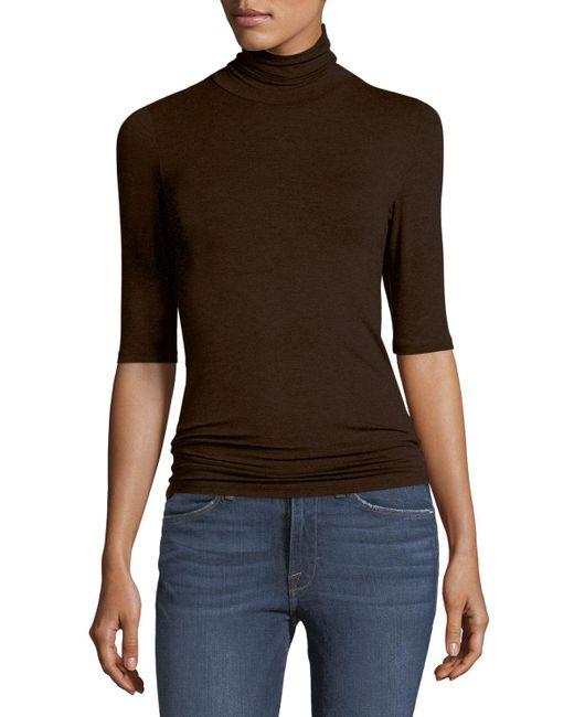 Neiman Marcus - Brown Soft Touch Half-sleeve Turtleneck - Lyst