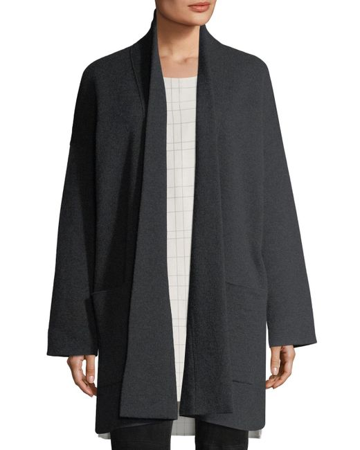 Eileen Fisher - Gray Recycled Cashmere-blend Double-knit Coat - Lyst