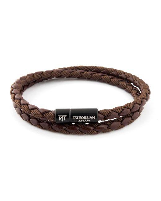 Tateossian - Brown Chelsea Double-wrap Braided Bracelet for Men - Lyst