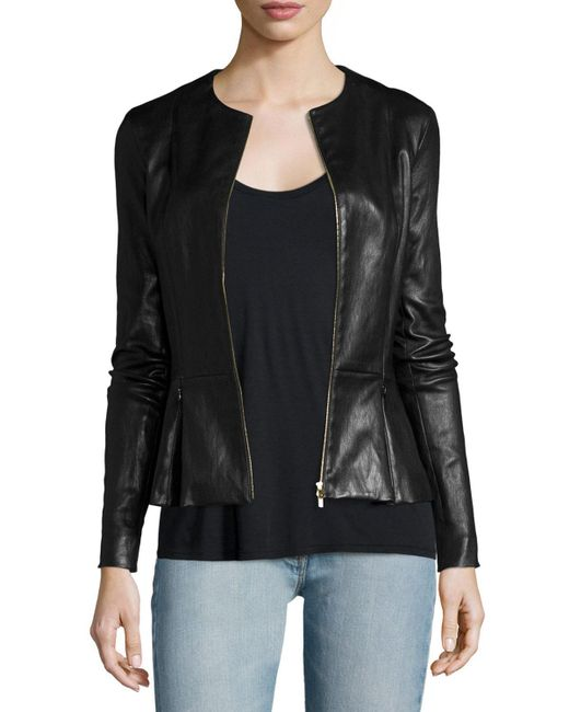 The Row - Black Anasta Zip-front Leather Jacket - Lyst