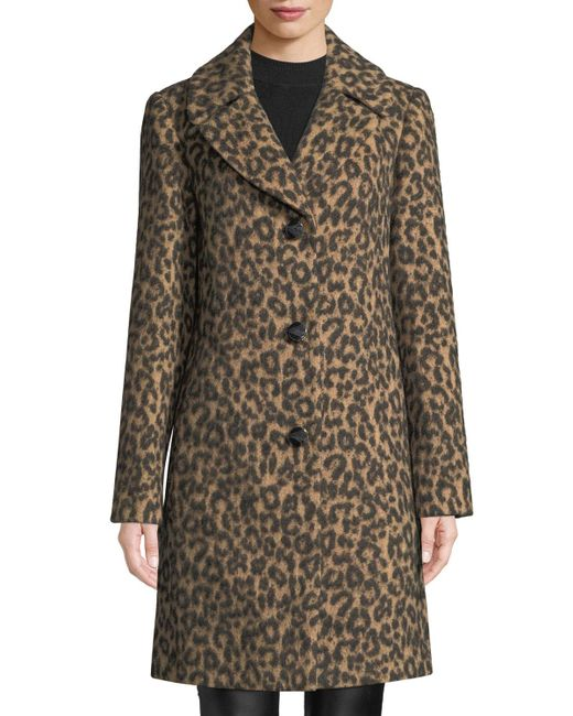 Kate Spade - Brown Novelty Wool Brushed Leopard Coat - Lyst