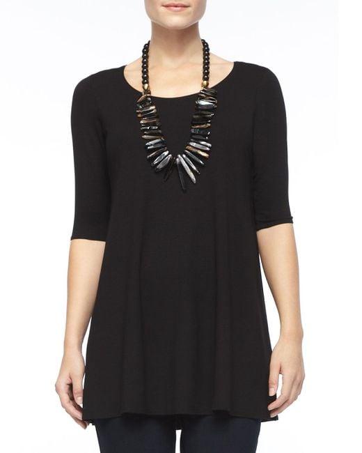 Eileen Fisher - Black Half-sleeve Silk Jersey Tunic - Lyst