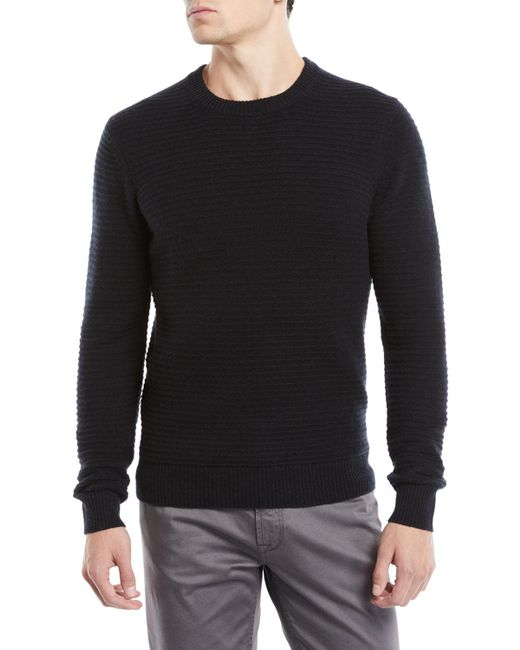 Neiman Marcus - Black Men's Ribbed Cashmere Pullover Sweater for Men - Lyst