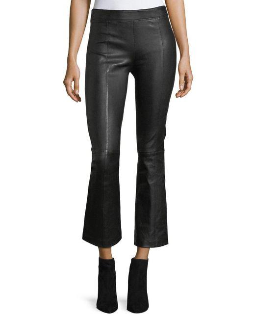 Helmut Lang   Black Leather Mid-rise Crop Flare Pants   Lyst