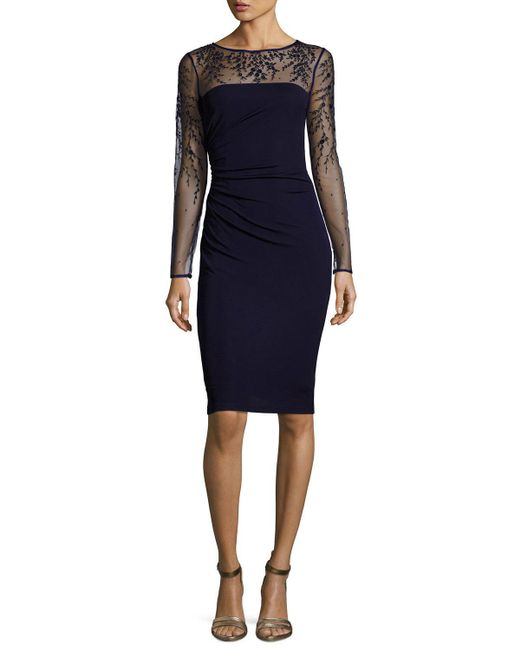 David Meister | Blue Long-sleeve Jersey Illusion Cocktail Dress | Lyst